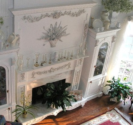 Another view of the carved fireplace surround